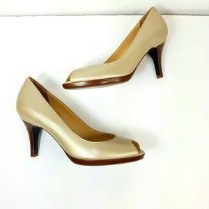 [Cole Haan] Nike Air Gold/Tan Peep Toe heels